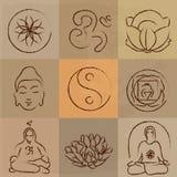 Yoga set. Vector yoga set - Buddhism, meditation, signs and symbols Royalty Free Stock Image