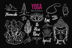 Yoga set. Vector. Isolated hand drawn objects. Spiritual Symbols of Buddhism, Hinduism. Tattoo design , yoga logo, boho print, poster. Inspirational calligraphy Royalty Free Stock Photo