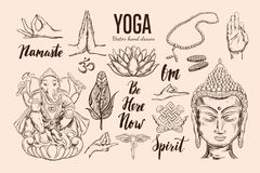 Yoga set. Vector Isolated hand drawn. Objects. Spiritual Symbols of Buddhism, Hinduism. Tattoo design , yoga logo, boho print, poster. Inspirational calligraphy Stock Photos