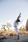 Yoga Shakti. Semi-silhouette of a woman opening her heart chakra up to the sky in a freeform yoga sun salute while in a natural environment Royalty Free Stock Photos