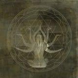Yoga Shakti Mandala. Woman with eight arms in the center of a geometric mandala Royalty Free Stock Image