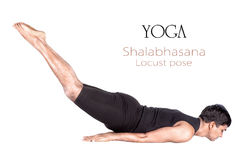 Yoga shalabhasana locust pose Royalty Free Stock Photos