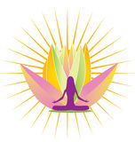 Yoga shine and pink lotus flower logo. Vector illustration design Royalty Free Stock Photos