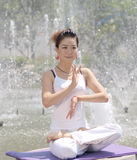 Yoga the shores of the lake Stock Image