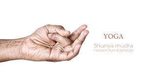 Yoga shunya mudra. Hands in shunya heaven mudra by Indian man isolated on white background. Free space for your text Royalty Free Stock Photos