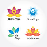 Yoga signs set, hatha, aqua, fly, meditation. Flowers and body elements. Modern  illustration and design element Stock Images