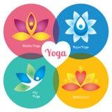 Yoga signs set, hatha, aqua, fly, meditation. Modern vector illustration and stylish design element Royalty Free Stock Photography