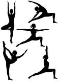 Yoga silhouette 2. Five yoga positions: tree, royal dancer, warrior 1, warrior 2, reverse warrior Royalty Free Stock Images