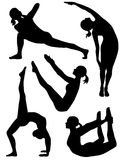 Yoga silhouette 3. Five yoga positions: prayer twist, side stretch, boat, bow and bridge Royalty Free Illustration