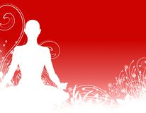 Yoga Silhouette Background. A background illustration featuring a simple  silhouette of a person sitting in a yoga or meditation position against a red Stock Images