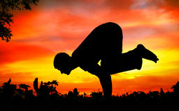 Yoga silhouette bakasana crane pose Royalty Free Stock Images