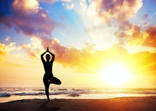 Yoga silhouette on the beach. Yoga vrikshasana tree pose by woman in silhouette with sunset sky background. Free space for text Stock Photos