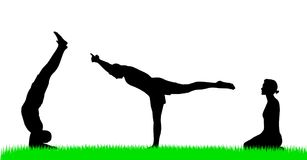 Yoga silhouette figures Royalty Free Stock Image