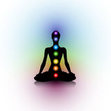 Yoga silhouette. Human silhouette with seven chakras Royalty Free Stock Images