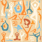 Yoga silhouette icons pattern background. Decorative background with yoga symbols and positions. Vector illustration Royalty Free Stock Photos
