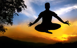 Yoga silhouette lotus pose in jumping. Man silhouette doing padmasana lotus pose in jumping with tree nearby outdoors at sunset background royalty free stock photo