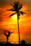 Yoga silhouette Natarajasana dancer pose Stock Images