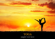 Yoga silhouette Natarajasana dancer pose Royalty Free Stock Photo