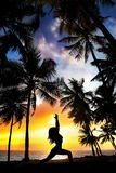 Yoga silhouette near palm trees Royalty Free Stock Images