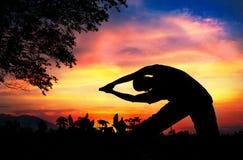 Yoga silhouette parighasana beam pose. Man silhouette doing parighasana beam pose with tree nearby outdoors at sunset background Stock Photo
