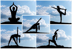 Yoga silhouette. Pretty woman doing yoga exercises in the park. silhouette Stock Images