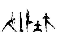 Yoga silhouette set. Yoga position doing by woman. Silhouettes (vector graphic Stock Image