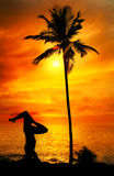 Yoga silhouette shirshasana at ocean. Yoga shirshasana head standing pose by Man in silhouette with palm tree nearby outdoors at ocean and sunset background Stock Photography