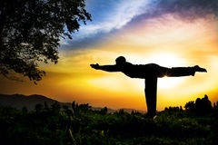 Yoga silhouette virabhadrasana III warior pose. Man silhouette doing virabhadrasana III warior pose with tree nearby outdoors at sunset background Stock Images