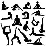 Yoga, silhouetten Stock Fotografie