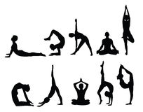 Yoga silhouettes Royalty Free Stock Photography