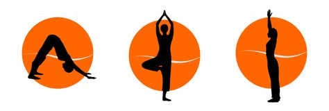Yoga silhouettes. Woman in yoga asana silhouettes over colourfull background. Vector illustration Royalty Free Stock Images