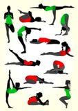Yoga silhouettes background in white Stock Photos