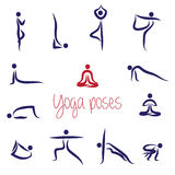 Yoga Silhouettes pack Vector. Yoga Silhouettes Asanas pack Vector Stock Images