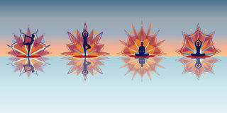 Yoga silhouettes - reflection Stock Photography