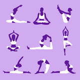 Yoga silhouettes. Set of yoga silhouettes.yoga positions.Vector illustration Stock Image