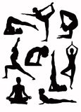 Yoga silhouettes - vector Stock Photos