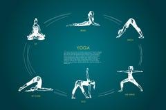 Yoga - sitt, böj, välva sig, hans armar, sjunkande, spets över vektorbegreppsuppsättning stock illustrationer