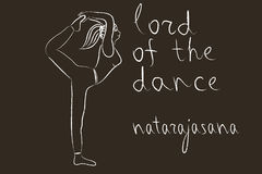 Yoga sketch in white chalk on blackboard. Lord of the dance pose Stock Photos