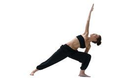 yoga Slank flicka som gör asanaen som isoleras på vit Fotografering för Bildbyråer