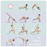 YOGA for Slimness and Strength. A set of complex visual sequence exercise of yoga for Slimness and Strength Stock Images