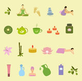 Yoga and spa icons. Colorful set of  design elements for spa salon. Stock Photography