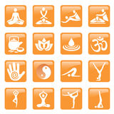 Yoga spa massage buttons icons. Set of yoga, massage and spa icons and web buttons. Vector illustration Stock Images