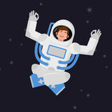 Yoga Space. astronaut meditating in open space. Cosmonaut Zen an Stock Images