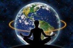 Yoga Space Earth stock illustration