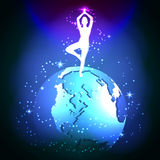 Yoga in space. The meditative state of man's soul. Vector glowing background Stock Image