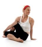 Yoga spine twisting illustration pose Royalty Free Stock Photos