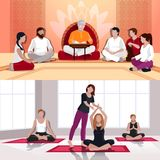 Yoga And Spiritual Lesson Flat Compositions Stock Photo