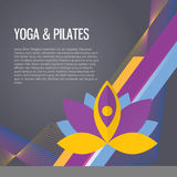 Yoga sport gym background. Modern vector icons and illustrations in flat style with place for text stock illustration