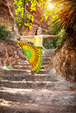 Yoga on the stairs Royalty Free Stock Images