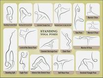Yoga stand poses set. Stock Photos